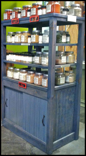 Rustic wood product display cabinet double sided