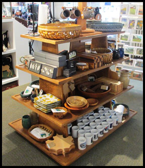 rustic wood island gondola display fixture