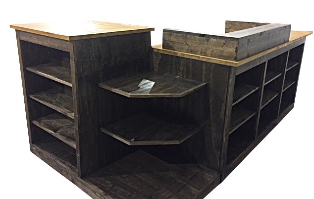 corner, shelf, display, rustic, retail, sales, desk, counter, cash, check, out