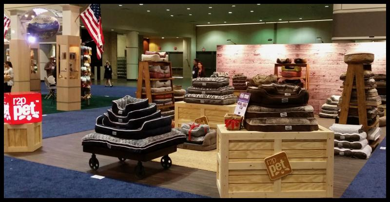 r2p pet trade show displays rustic wood crates ladders wood signs booth