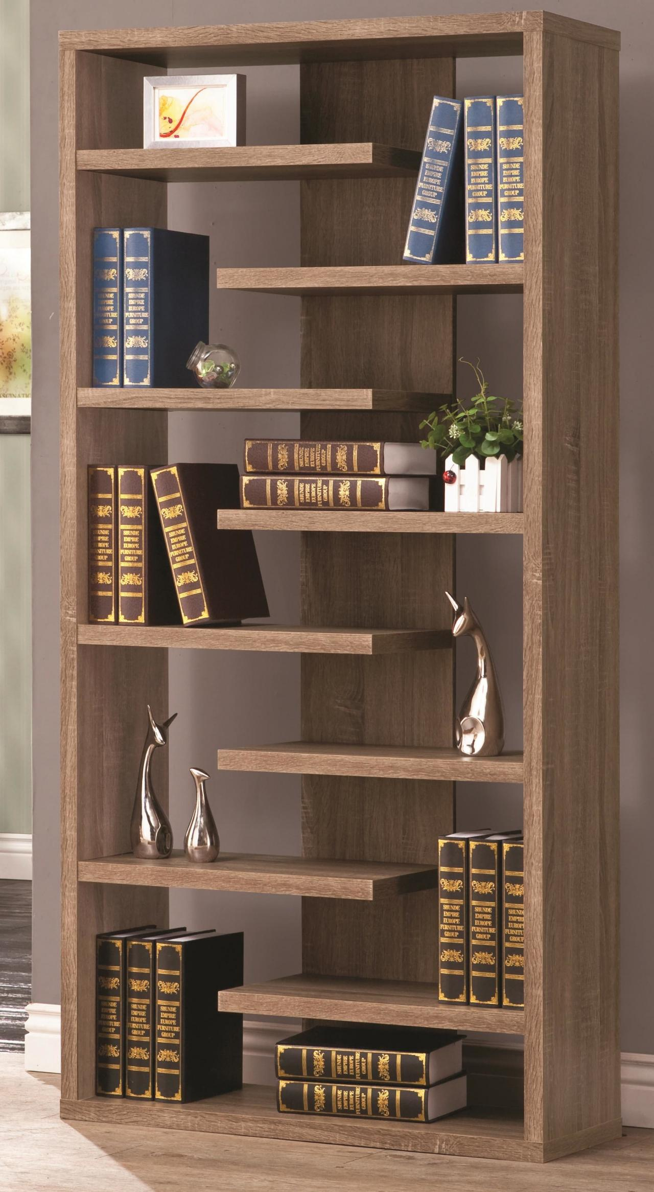 Rustic Wood Cool Retail Bookcase Floating Shelves Store Unique Displays
