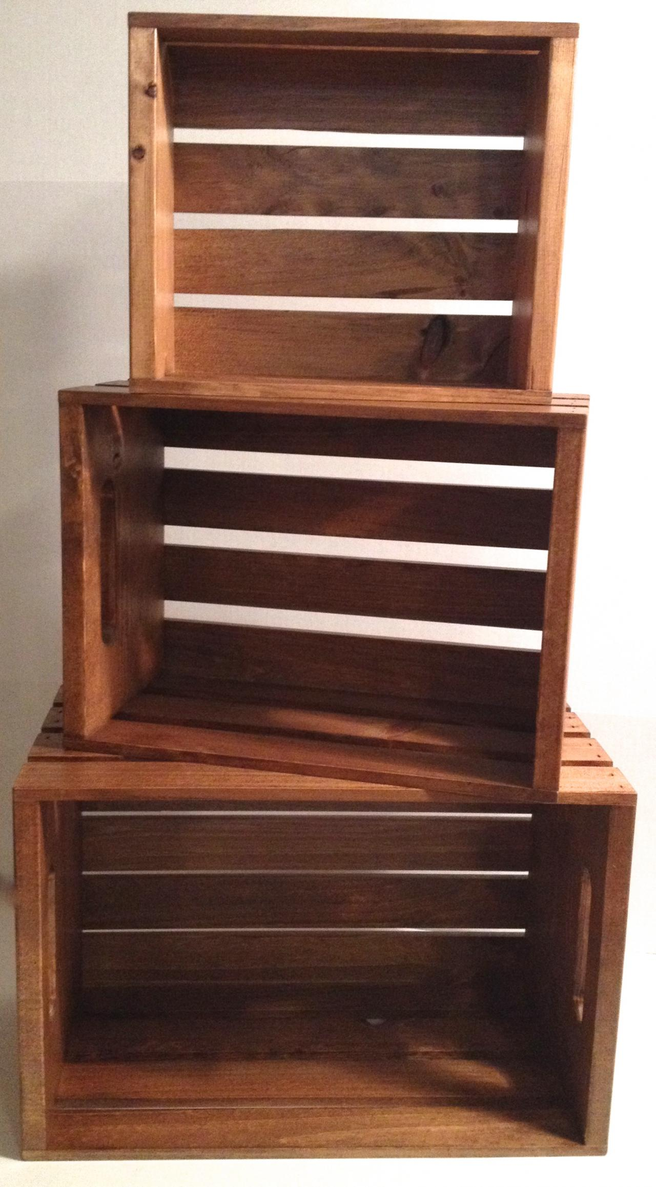 rustic wood dark stained stacking crates display market country store  grocer. Rustic Wood Retail Store Product Display Fixtures   Shelving