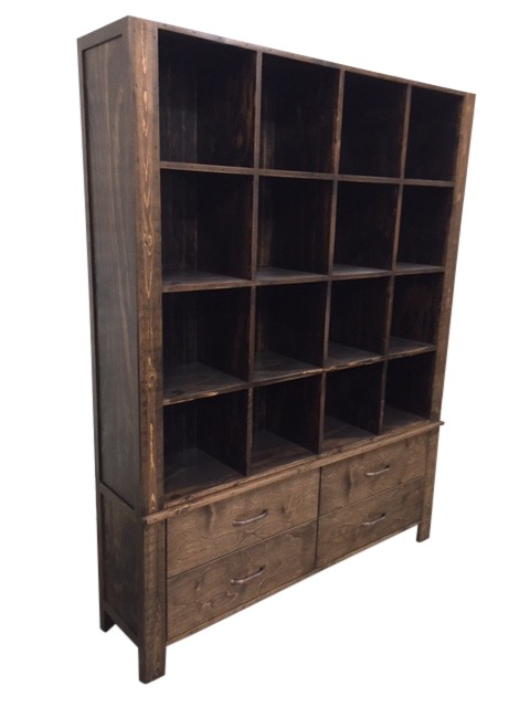 Rustic Wood T Shirt Cubby Retail Display Harvard Store Dark Drawers Storage