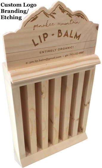 wood-counter-display-lip-cream-balm-jar-branded-logo-imprint-etch